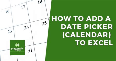 How to add a DatePicker (Calendar) to Excel Cells