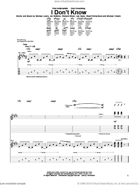 Lostprophets - I Don't Know sheet music for guitar (tablature)