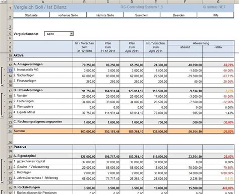 Excel-Tool: RS-Controlling-System