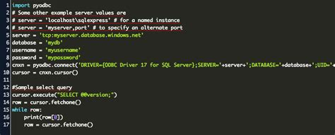 connect to sql server with python Code Example
